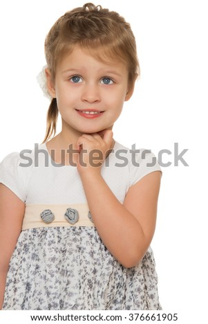 Pensive little girl with Dreaming eyes. Closeup - Isolated on white background - stock photo