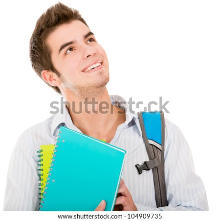 Pensive male student looking up - isolated over a white background - stock photo