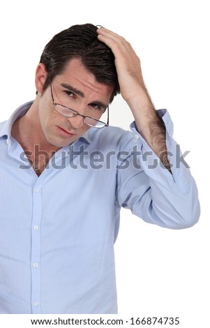 Pensive man - stock photo