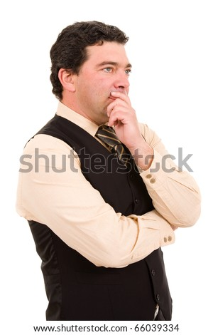 Pensive mature businessman isolated over white background - stock photo