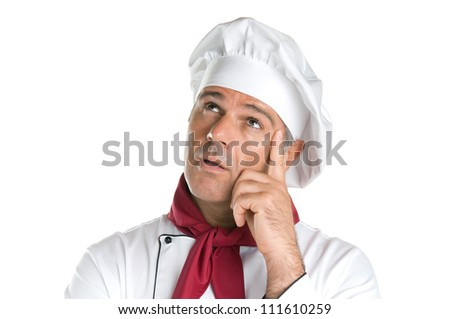 Pensive mature chef looking up with thoughtful expression isolated on white background - stock photo