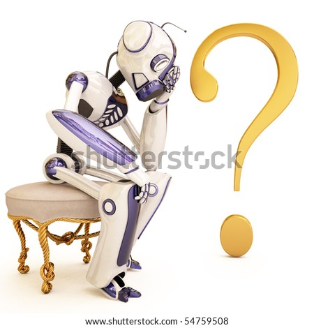 pensive robot sitting on a chair. with clipping path.