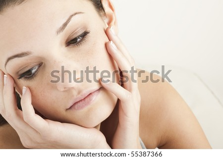 Pensive/Sad Teenage Girl - stock photo