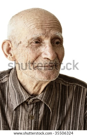 Pensive senior man portrait against white background