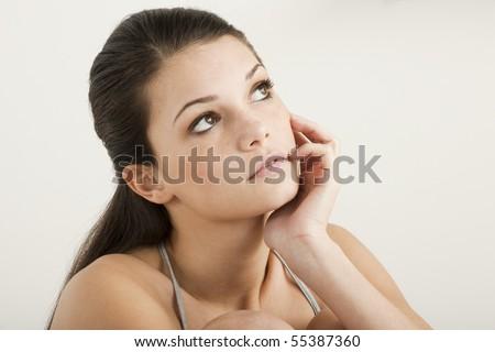 Pensive teenage girl - stock photo
