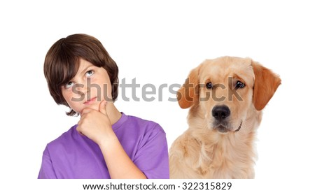 Pensive teenager boy with his dog isolated on a white background - stock photo