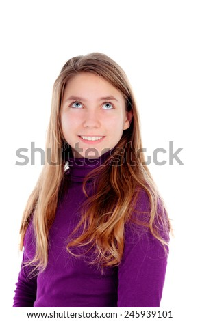 Pensive teenager girl looking up isolated on a white background - stock photo