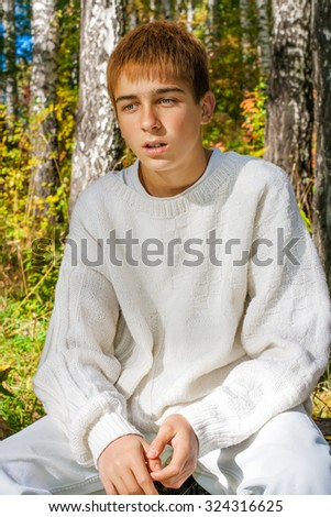 Pensive Teenager sit in the Autumn Forest - stock photo