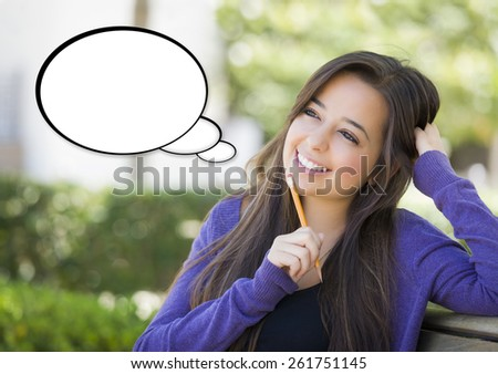 Pensive Woman with Blank White Thought Bubble Beside Her. - stock photo