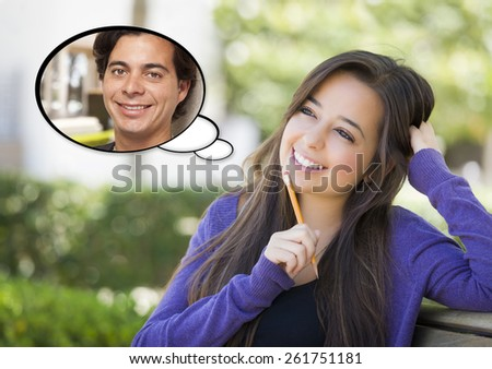 Pensive Woman with Handsome Young Man Inside Thought Bubble. - stock photo