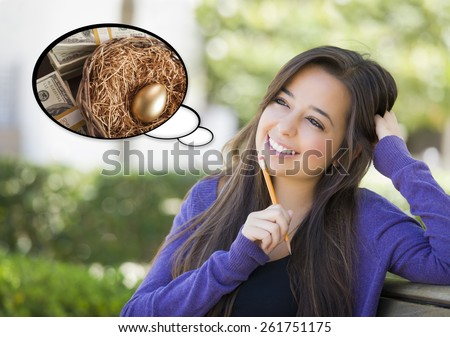 Pensive Woman with Money and Golden Nest Egg Inside Thought Bubble. - stock photo