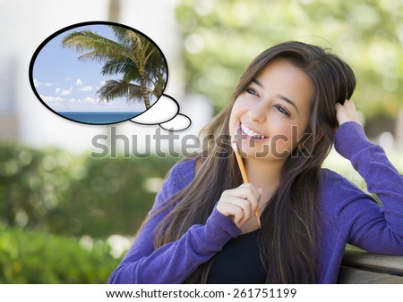 Pensive Woman with Tropical Beach and Palm Tree Inside Thought Bubble. - stock photo