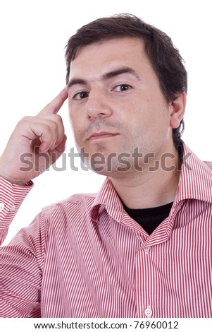 Pensive young casual man isolated over white background - stock photo