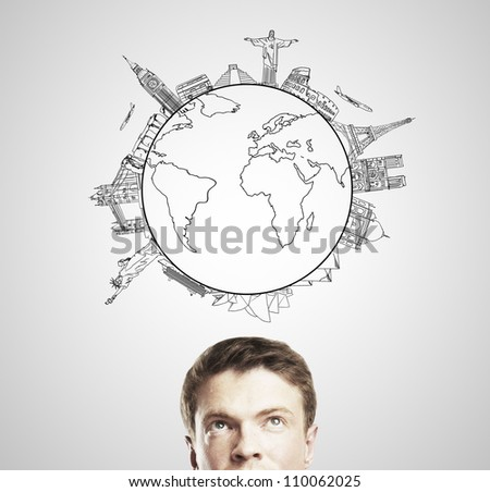pensive young man dreaming travel, isolated - stock photo