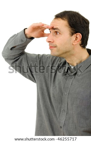 pensive young man looking in a white background - stock photo