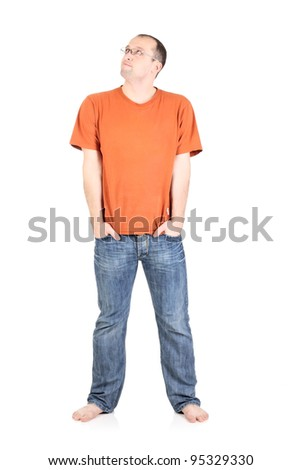 Pensive young man looking isolated on the white
