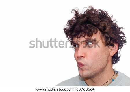 Pensive Young Man with Copy Space - stock photo
