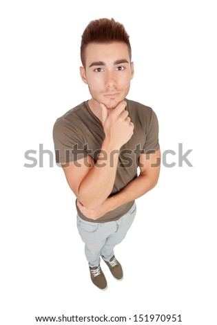 Pensive young men isolated on a white background. Top view - stock photo