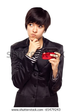 Pensive Young Mixed Race Woman Holding Her Mobile Phone Isolated on White. - stock photo