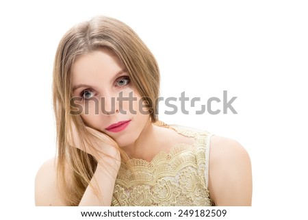 pensive young woman in frustration - stock photo