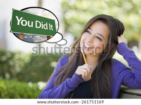 Pensive Young Woman with Thought Bubble of You Did it Green Road Sign. - stock photo