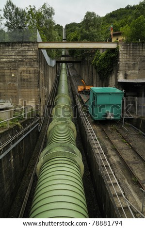 penstock of Mont-Cenis - stock photo