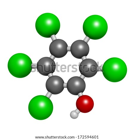 Pentachlorophenol (PCP) pesticide and disinfectant molecule. Often used for wood preservation. Atoms are represented as spheres with conventional color coding: hydrogen (white), carbon (grey), etc - stock photo