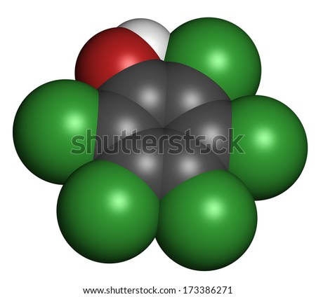 Pentachlorophenol (PCP) pesticide and disinfectant molecule. Often used for wood preservation. Atoms are represented as spheres with conventional color coding: hydrogen (white), etc - stock photo
