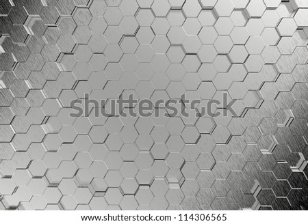 Pentagonal metal background - stock photo