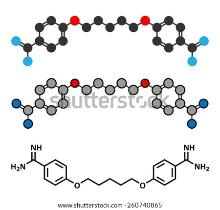 Pentamidine antimicrobial drug molecule. Used in treatment of pneumocystis pneumonia and trypanosomiasis. Stylized 2D renderings and conventional skeletal formula.