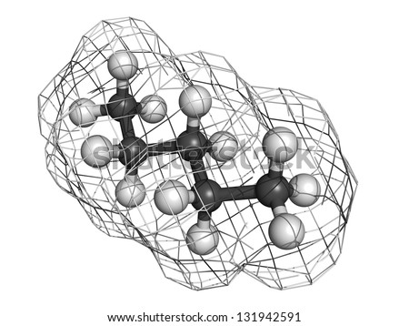 Pentane hydrocarbon, molecular model. Atoms are represented as spheres with conventional color coding: hydrogen (white), carbon (grey) - stock photo