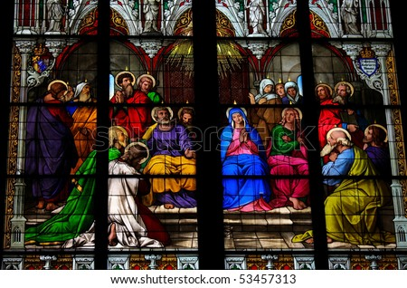Pentecost window in Cologne Cathedral.  It was donated in 1848 by the king of Bavaria to the Cathedral. - stock photo