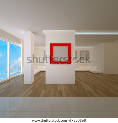 Penthouse interior with red board. Concept project