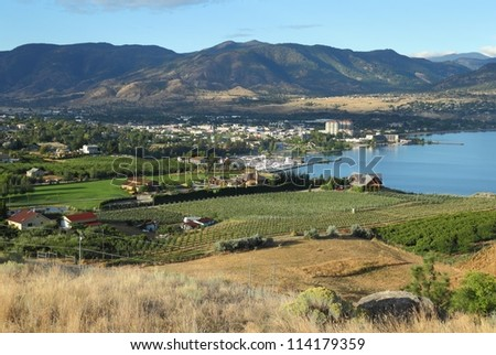 Penticton, British Columbia. Downtown Penticton on the shores of Okanagan Lake. British Columbia, Canada. - stock photo