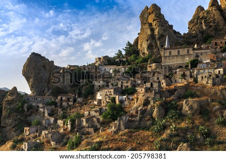 Pentidattilo, a ghost village in Calabria, Italy - stock photo