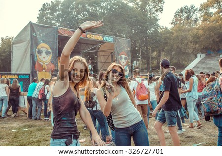 PENZA, RUSSIA - SEPTEMBER 6, 2015: Indian feast of love. People celebrated Holi festival of colors in Russia