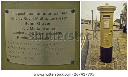 Penzance, Cornwall, UK - January 22 2015, Showing a royal mail letterbox painted gold in honour of Helen Glover winning a gold medal at the London olympic games in 2012 - stock photo