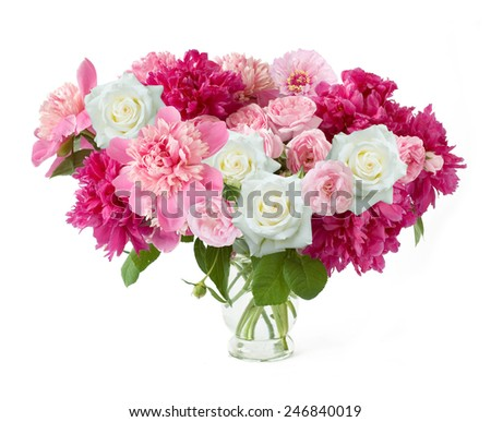 Peony and rose bunch isolated on white background - stock photo