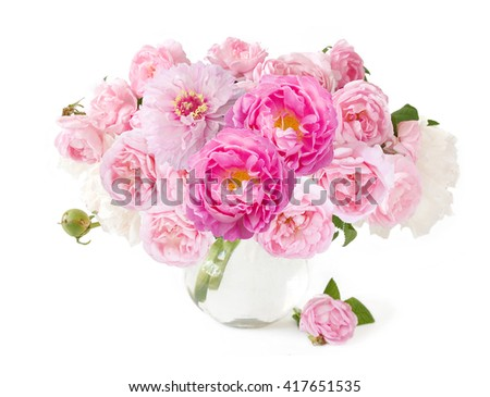 Peony and rose flowers bunch isolated on white background - stock photo