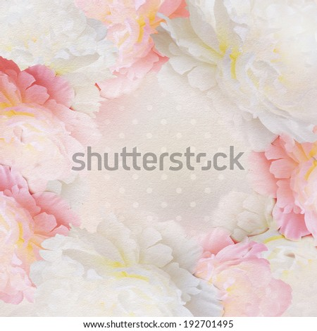 Peony flower on pastel background with copy space.