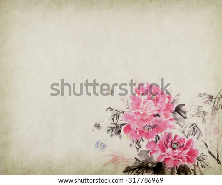 peony flower,Traditional chinese ink and wash painting - stock photo