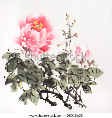 peony flower,Traditional chinese ink and wash painting. - stock photo