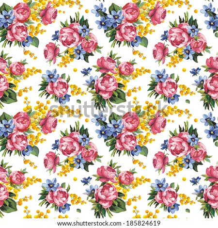 Peony flowers and leaves seamless pattern background, raster illustration - stock photo
