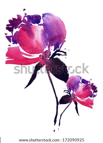 Peony flowers design - stock photo