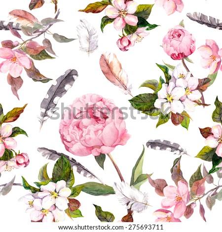 Peony flowers, sakura, feathers. Vintage seamless floral pattern. Watercolor - stock photo