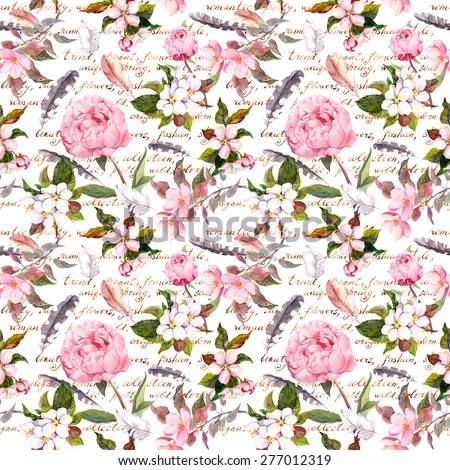 Peony flowers, sakura, feathers. Vintage seamless floral pattern with hand written letter. Watercolor - stock photo