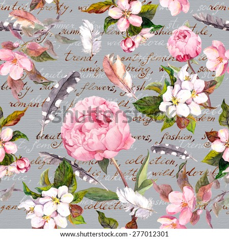 Peony flowers, sakura, feathers. Vintage seamless floral pattern with hand written letter for fashion design. Watercolor - stock photo