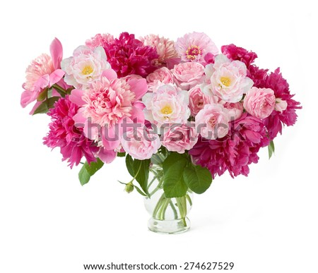 Peony, rose and tulip bunch in vase isolated on white background - stock photo