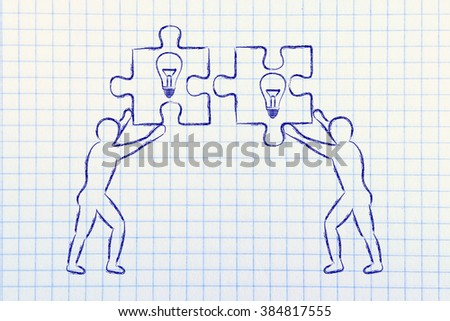 people about to match two pieces of puzzle with lightbulb sign, metaphor of teamwork and shared knowledge - stock photo