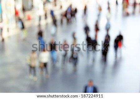 People abstract background, intentionally blurred post production - stock photo